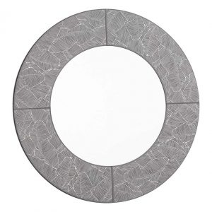 ATRANI ROUND GREY WITH SILVER LEAF MIRROR 80CM