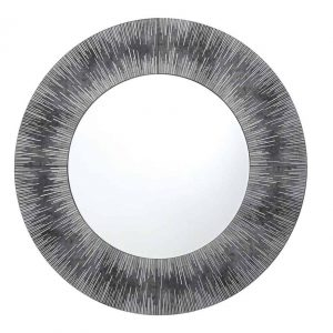 NEOME ROUND MIRROR WITH SILVER/GREY FRAME 80CM