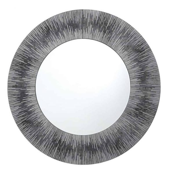 NEOME ROUND MIRROR WITH SILVER/GREY FRAME 80CM  Thompsons Lighting & Interiors