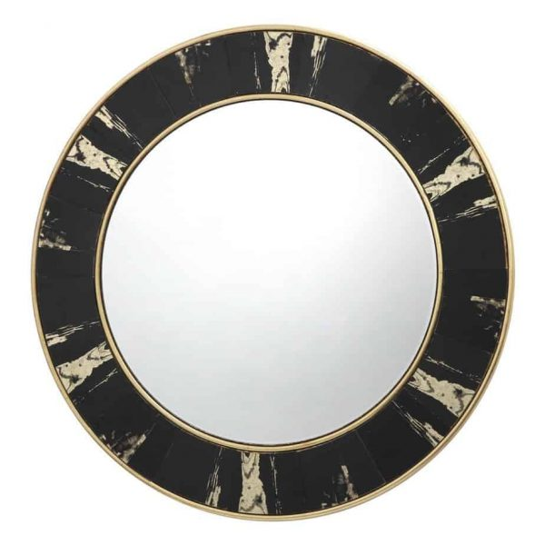 SIDONE ROUND MIRROR WITH BLACK/GOLD FOIL DETAIL 80CM  Thompsons Lighting & Interiors