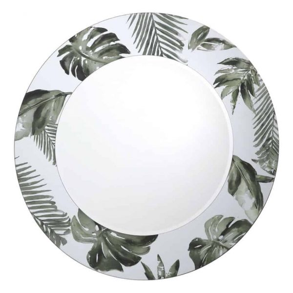 SYAGRUS ROUND MIRROR WITH PALM TREE PRINT DETAIL 80CM  Thompsons Lighting & Interiors