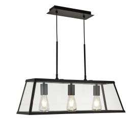 VOYAGER 3 LIGHT LANTERN BAR FITTING, BLACK, MATT GLASS PANELS