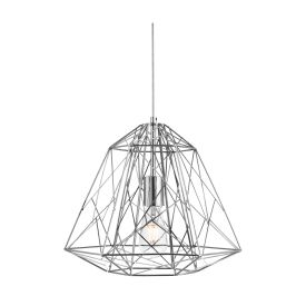 GEOMETRIC CHROME CAGE FRAME PENDANT LIGHT