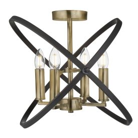HOOPLA 4LT SEMI FLUSH, BRONZE