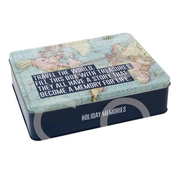 EXPLORE COLLECTION STORAGE TIN TRAVEL THE WORLD  Thompsons Lighting & Interiors