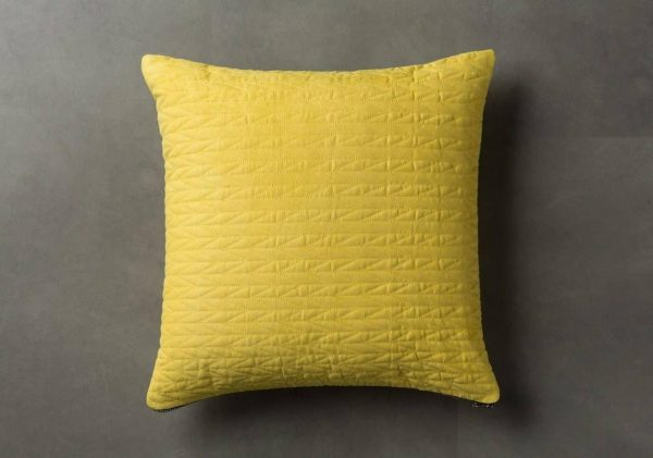 Scandi Yellow Quilted Cushion  Thompsons Lighting & Interiors