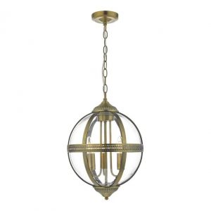 Vanessa 3 Light Pendant Antique Brass And Cle