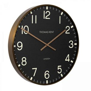 Thomas Kent Clocksmith Wall Clock Brass & Black