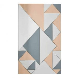 Ephesus Rectangle Geometric Feature Mirror Smoked & Rose Gold