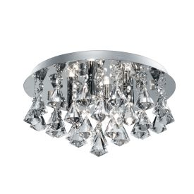 HANNA IP44 BATHROOM – 4 LIGHT CRYSTAL CEILING FLUSH, CLEAR PYRAMID CRYSTAL DROPS