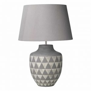 Mulan Table Lamp Ceramic, Grey Base & Grey Shade