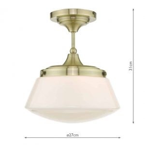 Caden Semi Flush Antique Brass Opal Glass