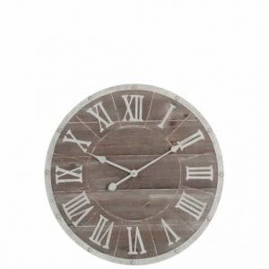Clock Round Roman Numerals Metal/Wood Brown/White Small 60 CM