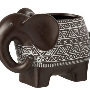 Flowerpot Elephant Terracotta Dark Brown/White Large